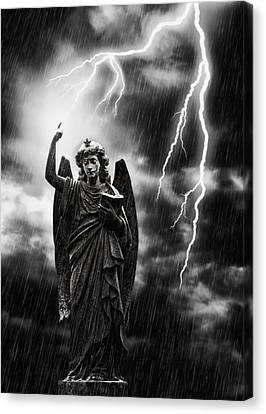Lightning Strikes The Angel Gabriel Canvas Print by Amanda Elwell