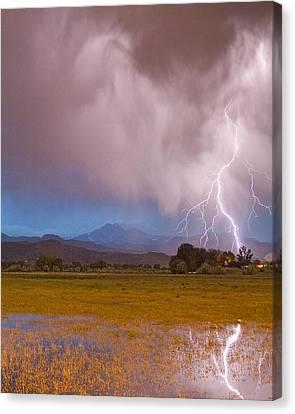 Lightning Striking Longs Peak Foothills 7c Canvas Print by James BO  Insogna