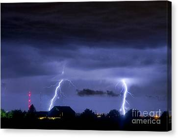 Lightning Thunderstorm July 12 2011 Two Strikes Over The City Canvas Print by James BO  Insogna