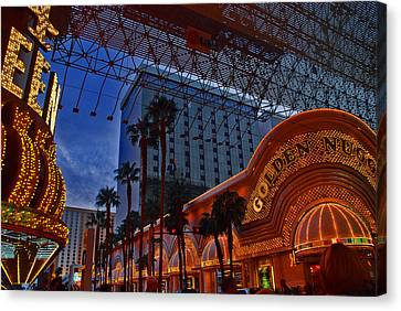 Lights In Down Town Las Vegas Canvas Print by Susanne Van Hulst