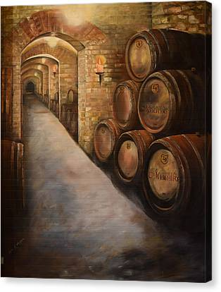 Lights In The Wine Cellar - Chateau Meichtry - Talking Rock, Ga Canvas Print by Jan Dappen