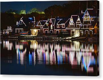 Lights Of Boathouse Row Canvas Print by Frozen in Time Fine Art Photography