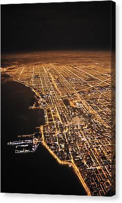 Lights Of Chicago Burn Brightly Canvas Print by Jim Richardson