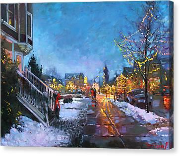 Lights On Elmwood Ave Canvas Print by Ylli Haruni