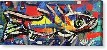 Lil Funky Folk Fish Number Nine Canvas Print by Robert Wolverton Jr