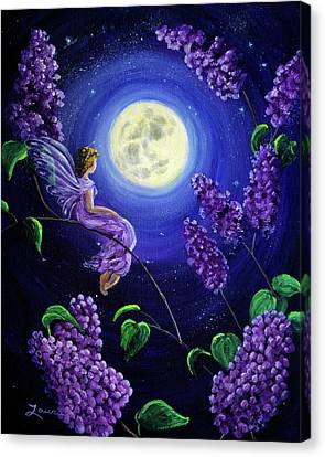 Lilac Fairy Bathed In Moonlight Canvas Print by Laura Iverson