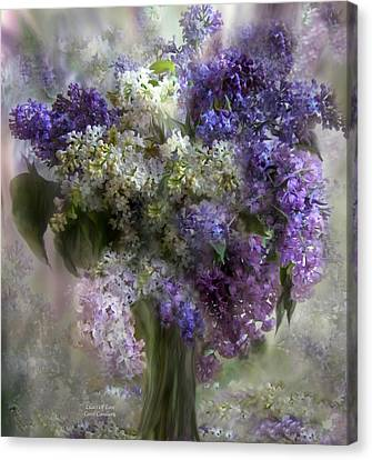 Lilacs Of Love Canvas Print by Carol Cavalaris
