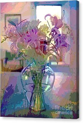 Lily Flowers In Glass Canvas Print by David Lloyd Glover