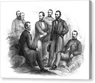 Lincoln And His Generals Black And White Canvas Print by War Is Hell Store