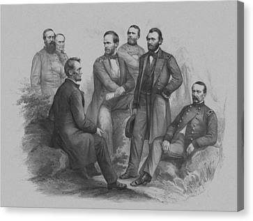 Lincoln And His Generals Canvas Print by War Is Hell Store