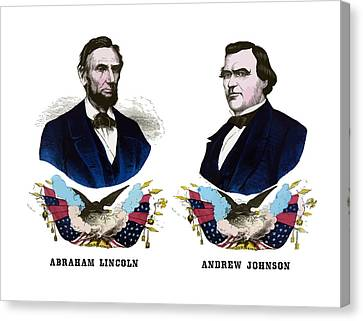 Lincoln And Johnson Campaign Poster Canvas Print by War Is Hell Store