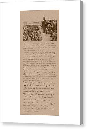 Lincoln And The Gettysburg Address Canvas Print by War Is Hell Store