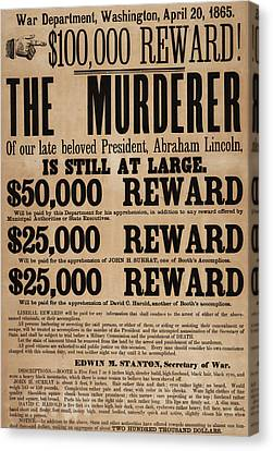 Lincoln Assassination Reward Poster Canvas Print by American School