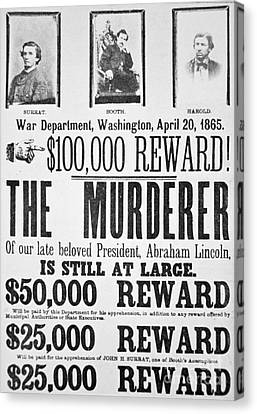 Lincoln Assassination Wanted Poster Canvas Print by American School