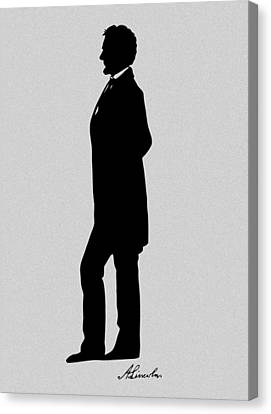Lincoln Silhouette And Signature Canvas Print by War Is Hell Store