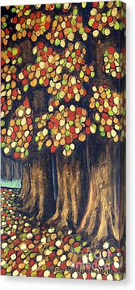 Linden Trees In The Fall Canvas Print by Anna Folkartanna Maciejewska-Dyba