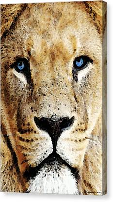 Lion Art - Blue Eyed King Canvas Print by Sharon Cummings
