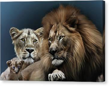 Lion Family Canvas Print by Julie L Hoddinott