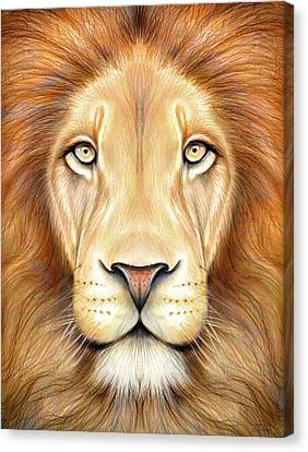 Lion Head In Color Canvas Print by Greg Joens
