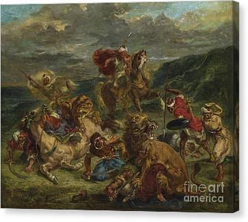 Lion Hunt Canvas Print by Ferdinand Victor Eugene Delacroix