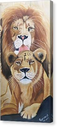 Lion Love Canvas Print by Debbie LaFrance