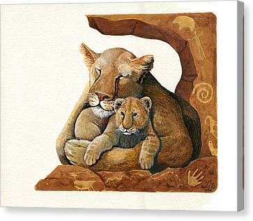 Lion - Protect Our Children Painting Canvas Print by Linda Apple
