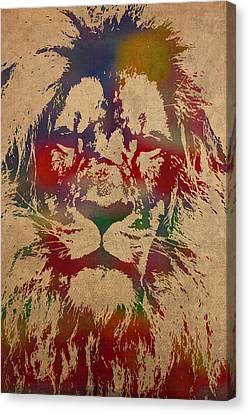 Lion Watercolor Portrait On Worn Canvas Canvas Print by Design Turnpike