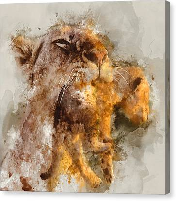 Lioness And Cub Portrait 2 - By Diana Van Canvas Print by Diana Van