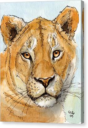 Lioness Canvas Print by Svetlana Ledneva-Schukina