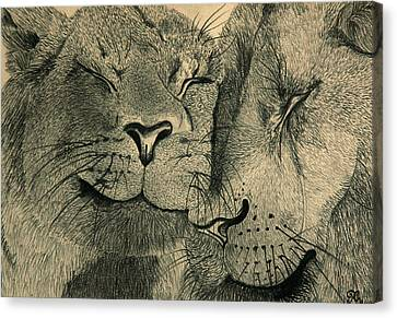 Lions In Love Canvas Print by Ramneek Narang