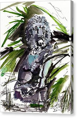 Lions Staue Of Jekyll Island Georgia Canvas Print by Ginette Callaway