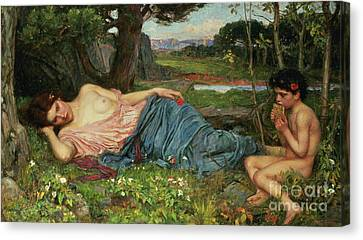 Listen To My Sweet Pipings Canvas Print by John William Waterhouse