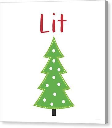 Lit Christmas Tree- Art By Linda Woods Canvas Print by Linda Woods