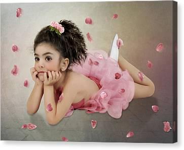 Little Ballerina In Pink Canvas Print by Margarita Nizharadze