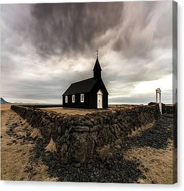 Little Black Church Canvas Print by Larry Marshall