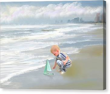 Little Boy And Boat Canvas Print by Mary Timman