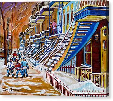 Little Canadian Boys Play Street Hockey Near Winding Yellow Staircase Montreal Winter Scene Art Canvas Print by Carole Spandau