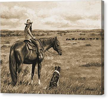 Little Cowgirl On Cattle Horse In Sepia Canvas Print by Crista Forest
