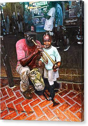 Little Girl With Trumpet Player On Bourbon Canvas Print by John Boles