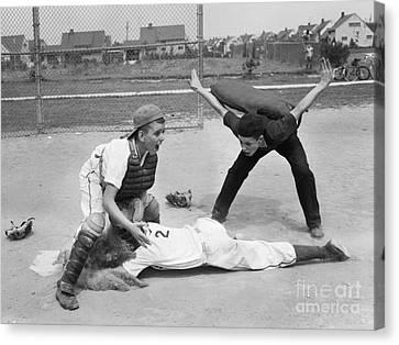 Little League Umpire Calling Safe Canvas Print by Debrocke/ClassicStock