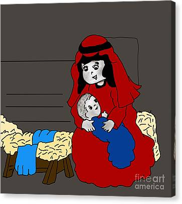 Little Mary And Baby Jesus In Red And Blue Canvas Print by Sonya Chalmers