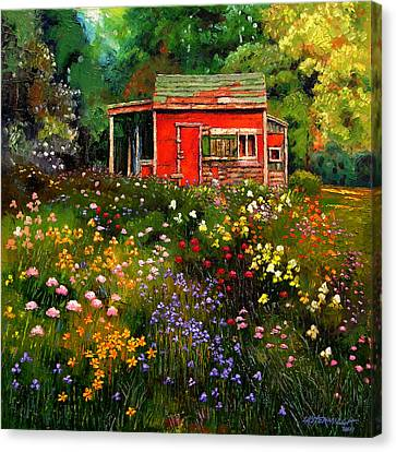 Little Red Flower Shed Canvas Print by John Lautermilch