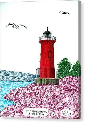Little Red Lighthouse On Hudson Canvas Print by Frederic Kohli