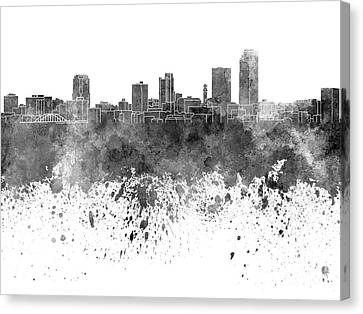 Little Rock Skyline In Black Watercolor On White Background Canvas Print by Pablo Romero