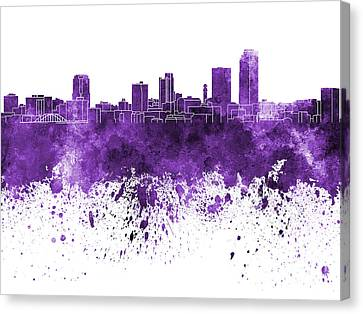 Little Rock Skyline In Purple Watercolor On White Background Canvas Print by Pablo Romero
