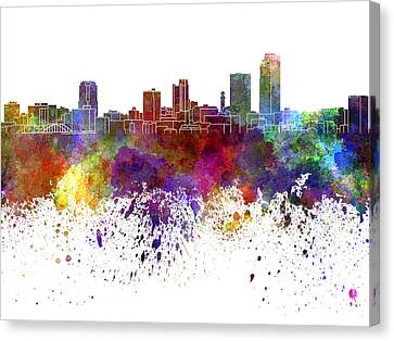 Little Rock Skyline In Watercolor On White Background Canvas Print by Pablo Romero