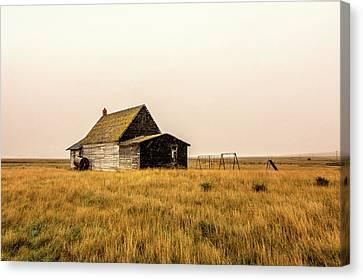 Little Schoolhouse On The Prairie Canvas Print by Todd Klassy
