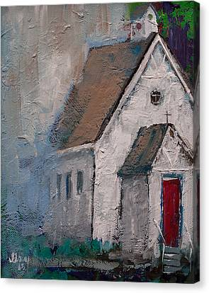 Little White Church On The Corner Christian Painting  Canvas Print by Gray Artus
