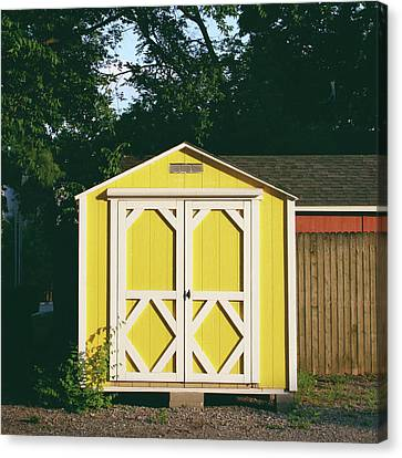 Little Yellow Barn- By Linda Woods Canvas Print by Linda Woods