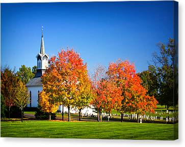 Little Zion Church In The Fall Canvas Print by Carolyn Derstine
